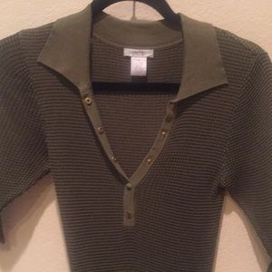 Cache Tops - Cache 3/4 sleeve knit top size M